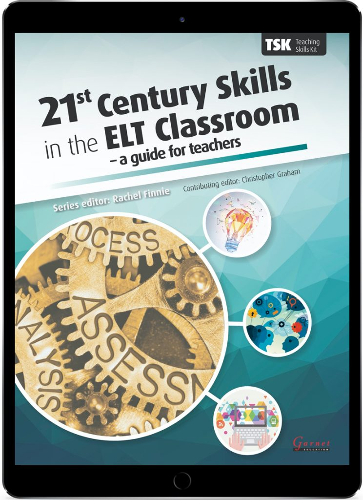 Teal cover of the ebook 21st Century Skills in the ELT Classroom.