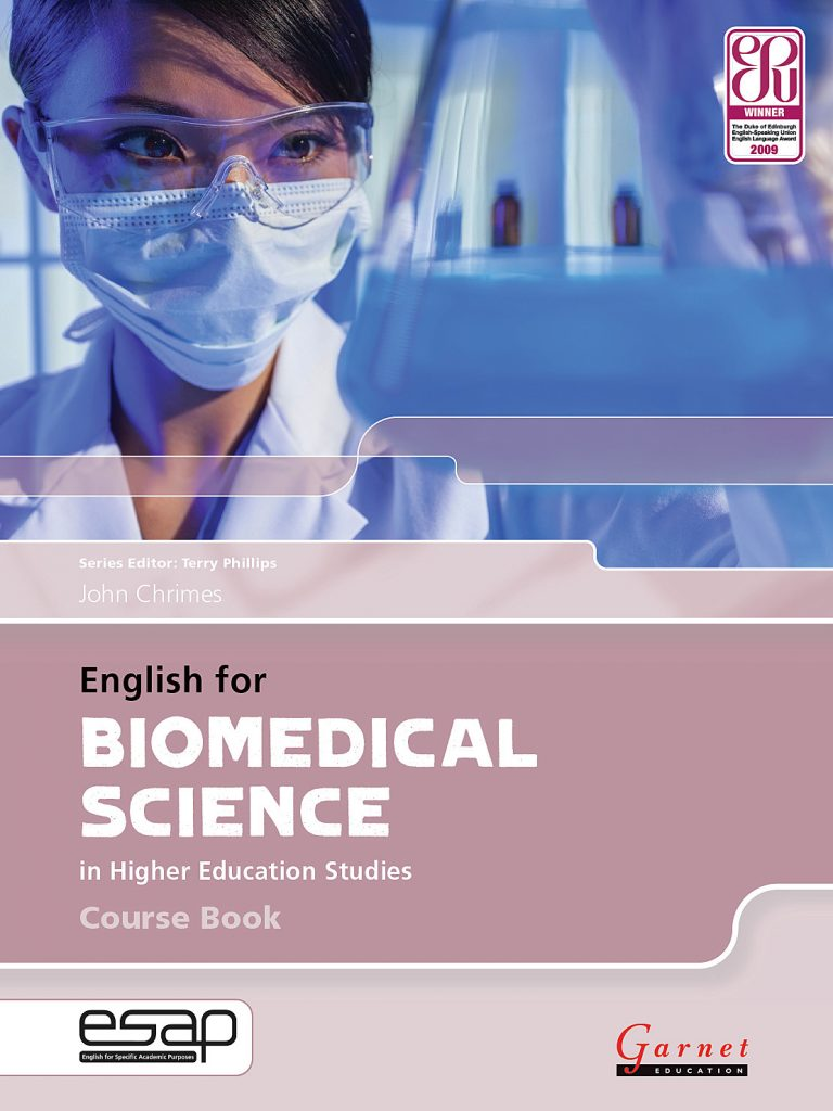 The cover of the English for Biomedical Science Course Book.