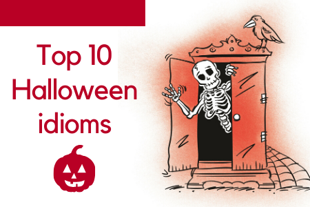 Top 10 Halloween idioms. Illustration of a skeleton in the closet.