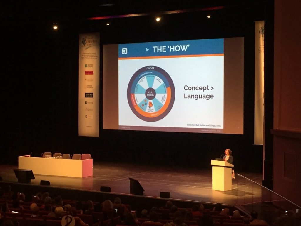 Image of a talk at IATEFL in an auditorium with a circle on the screen.