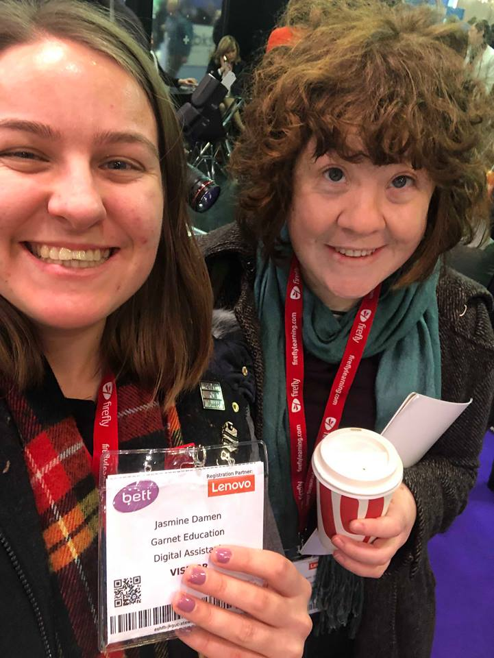 A selfie of Rosie and Jaz holding their BETT entrance passes.
