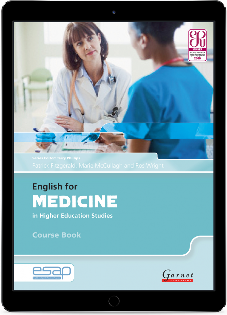 The cover of the English for Medicine Course Book in an iPad frame.