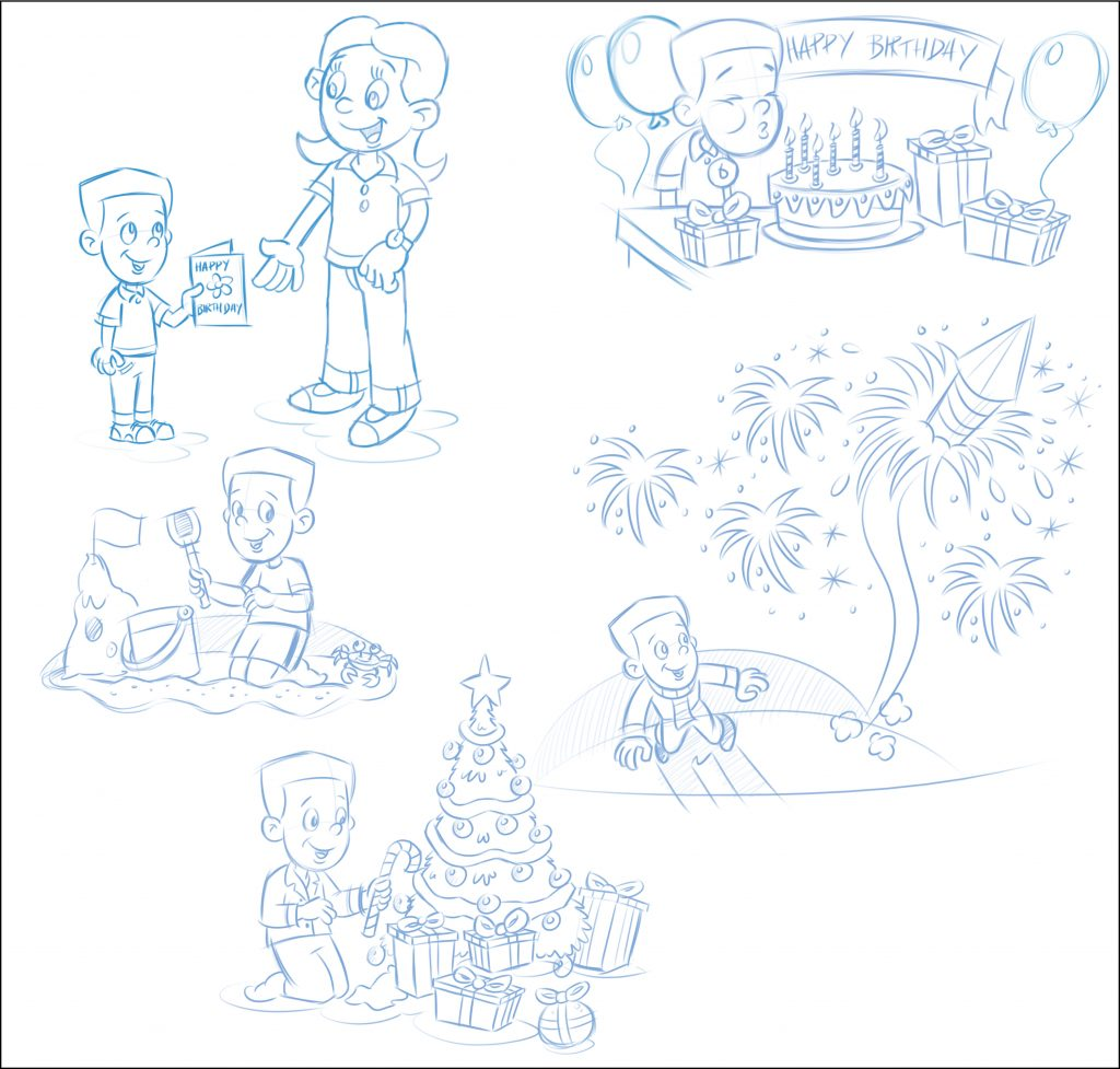 Rough sketches of boy celebrating his birthday and watching fireworks.