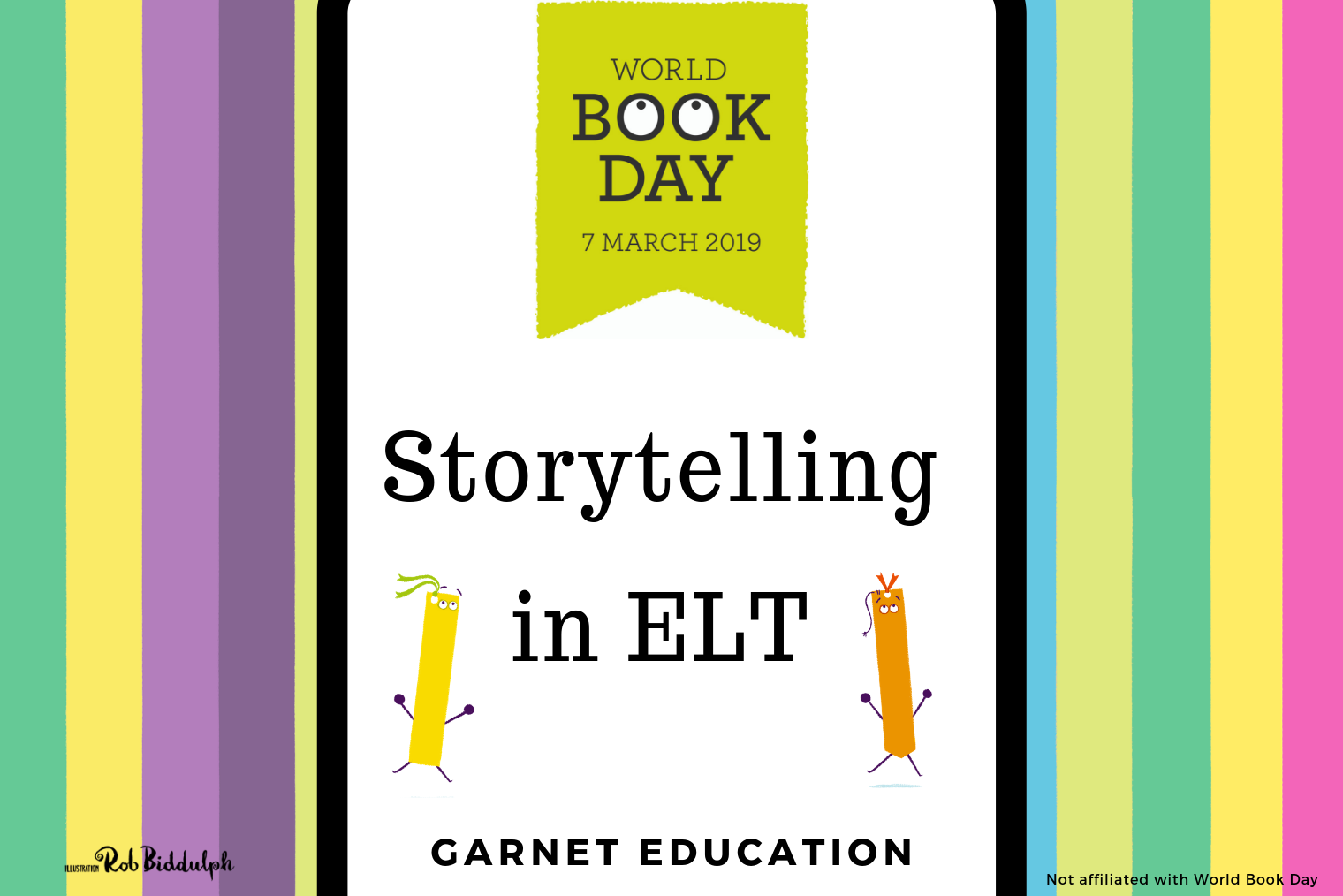 Rainbow coloured World Book day banner with cute dancing bookmarks. Storytelling in ELT | Garnet Education.