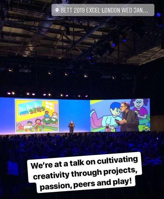 "Screenshot of an Instagram story. A wide screen with colourful illustrations of children. Text: We're at a talk on cultivating creativity through projects, passion, peers and play!""."