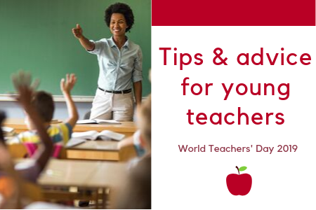 Tips & advice for young teachers. Teacher standing at the front of the classroom.