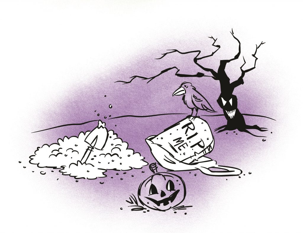A gravestone with 'R.I.P. ME' is placed disjointed on the ground of a graveyard. A crow is perched atop the gravestone.  A pile of freshly dug soil with a spade is next to it. Illustration.
