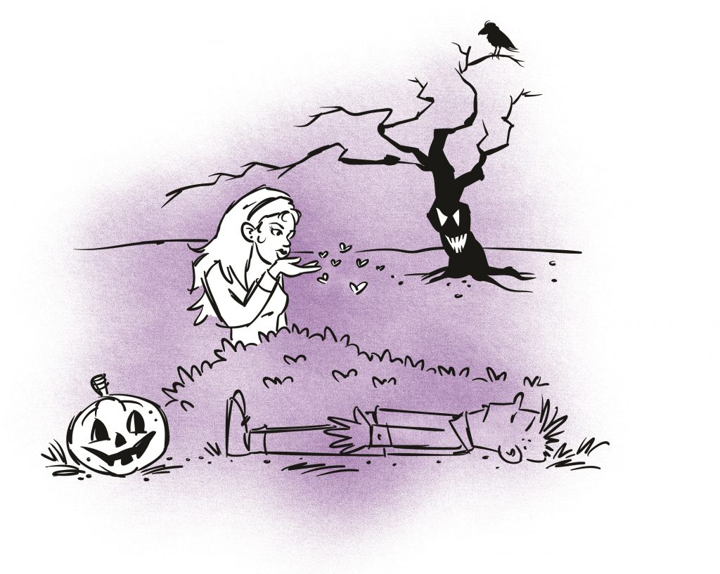A spooky scene. A boy is lying next to a bush with legs together and arms straight down. His eyes are closed. A woman is standing on the other side of the bush blowing kisses at him. Illustration.