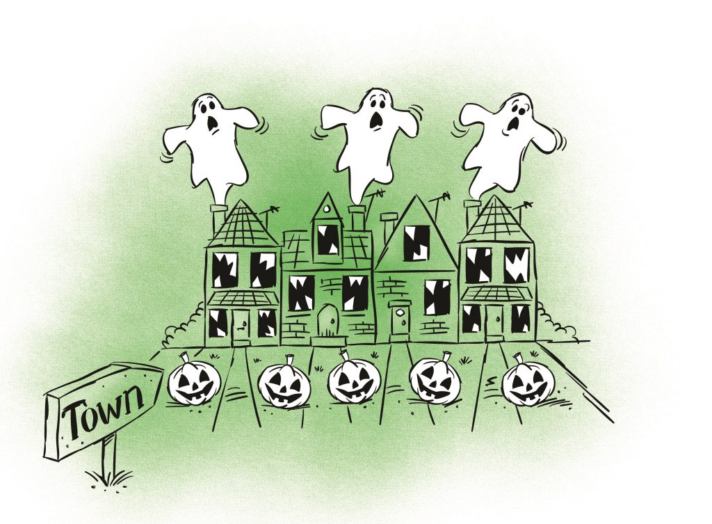 A collection of houses with ghosts spookily flying out of them. Illustration.