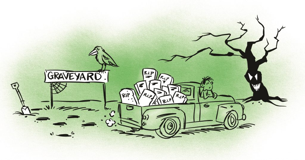 A crow stands perched on a sign that reads 'GRAVEYARD'. In the foreground, a pick-up truck is driving away with lots of gravestones in the back. Illustration.
