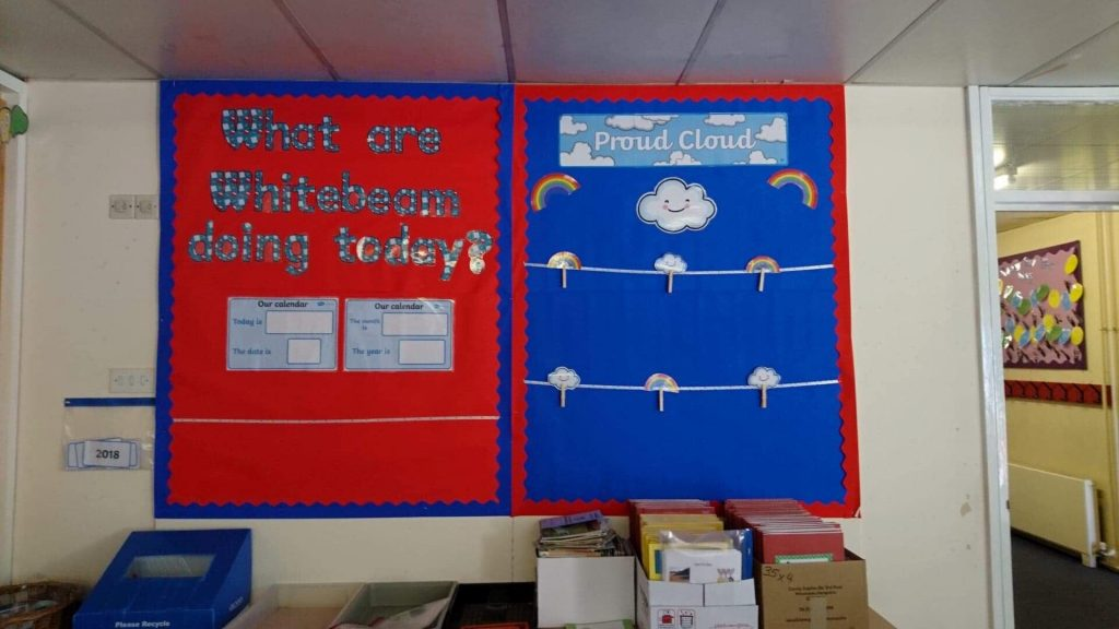 A colorful classroom board. On the left: What are whitebeam doing today?' On the right: proud cloud. Lots of rainbows and pegs ready top hang up good work.