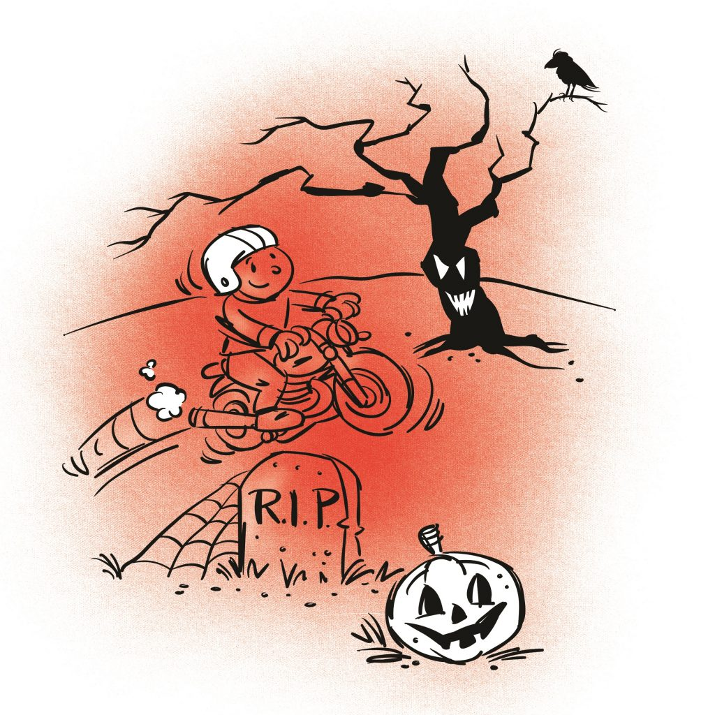 A boy on a motorbike is jumping over a gravestone in a graveyard. Illustration.