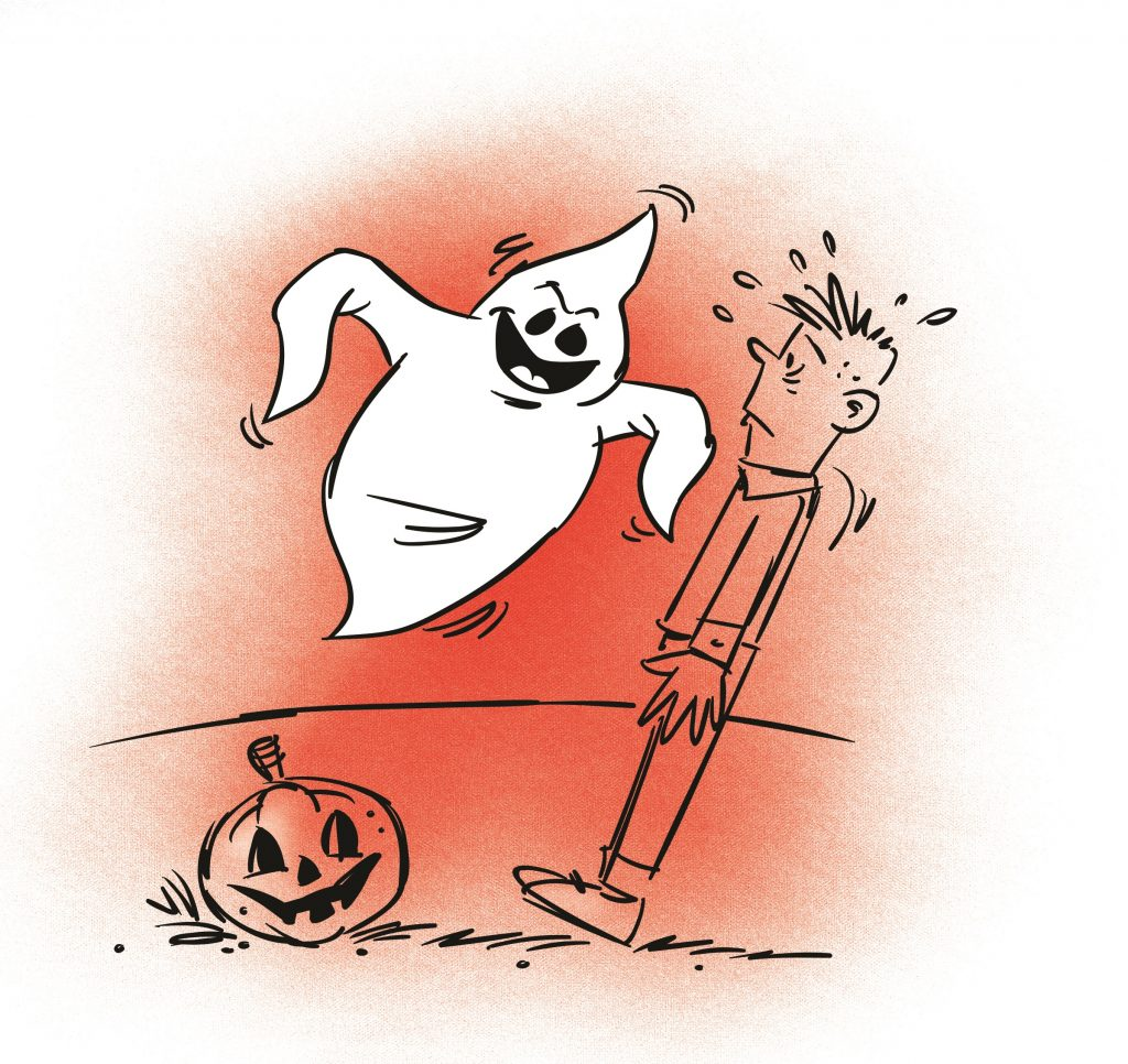 A young boy looking scared with his legs together and arms straight against his waist. A ghost hovers in front of him. Illustration.
