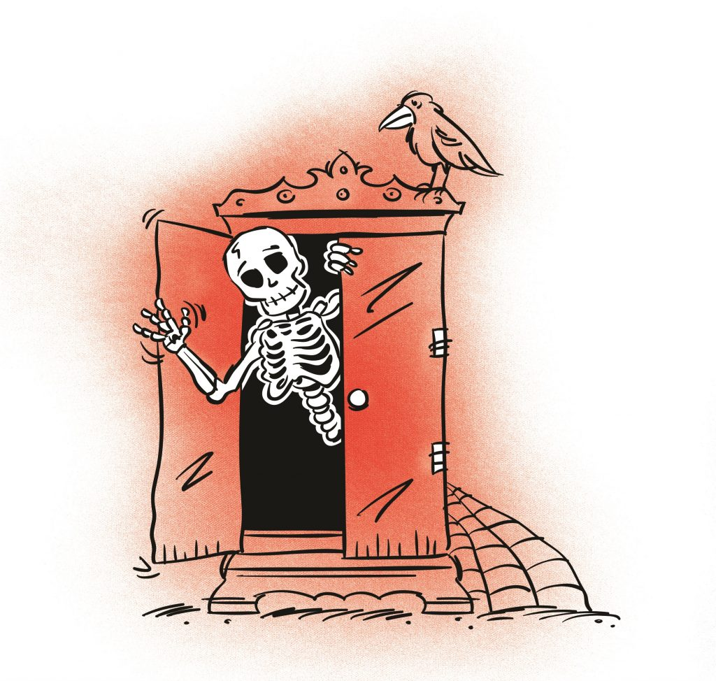 A skeleton waving out of a wardrobe or closet. Illustration.