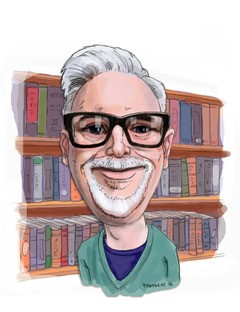 A caricature of Steve, a man with white hair, glasses and a goatee, in front of a bookshelf.